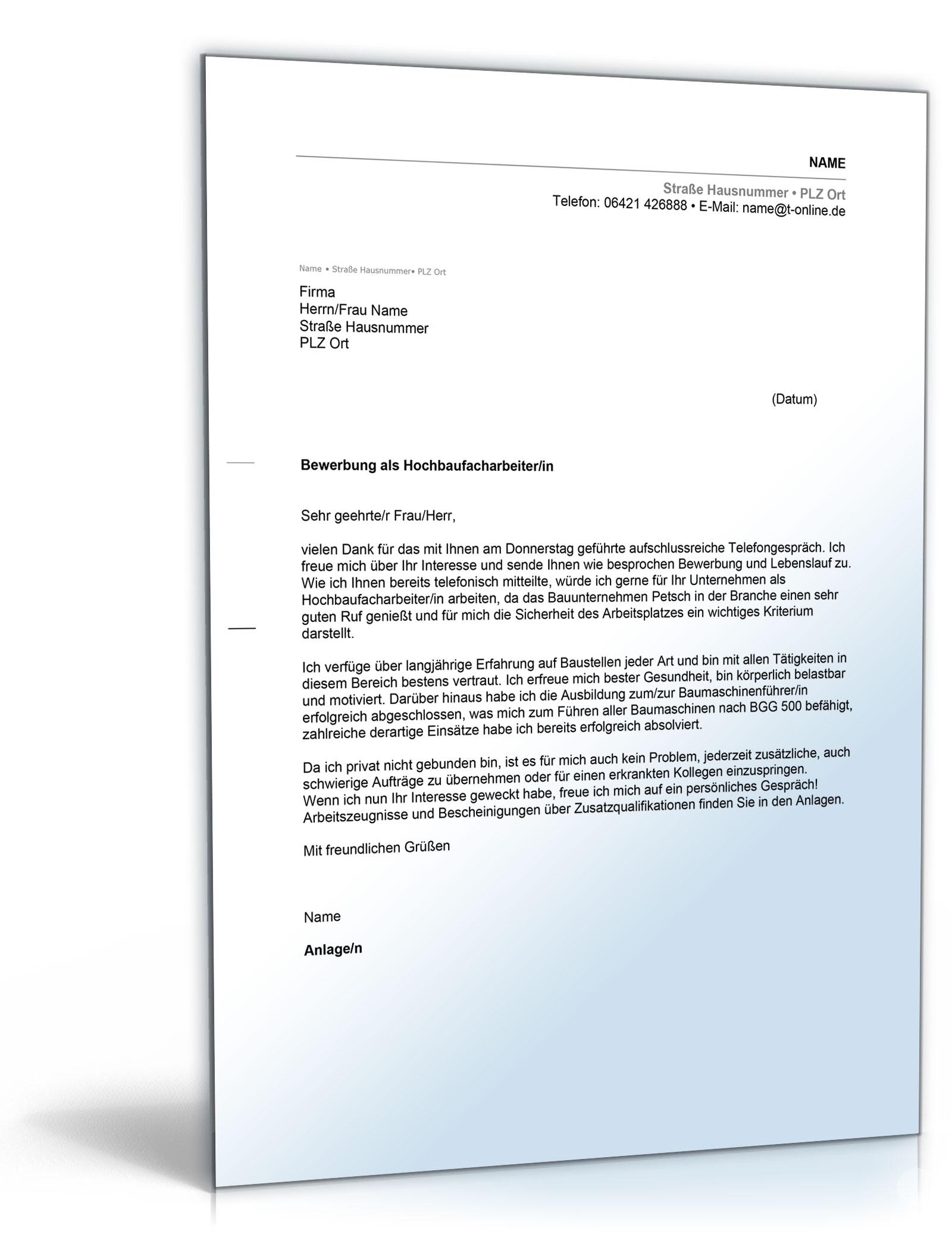 anschreiben bewerbung hochbaufacharbeiter - Bewerbung Sicherheitsdienst