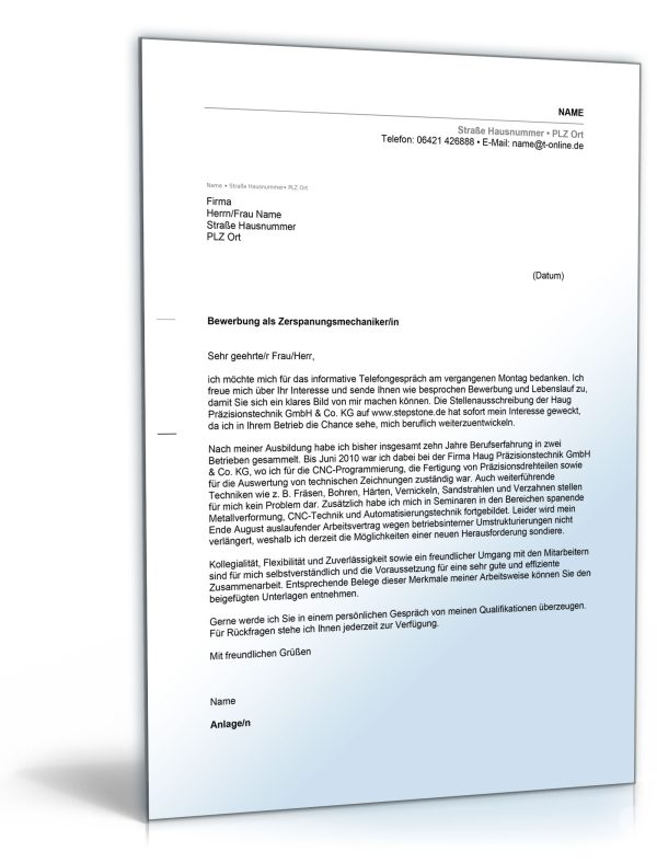 Anschreiben Bewerbung (Zerspanungsmechaniker/-in) 1