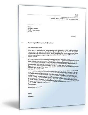 Anschreiben Bewerbung (Bauingenieur)