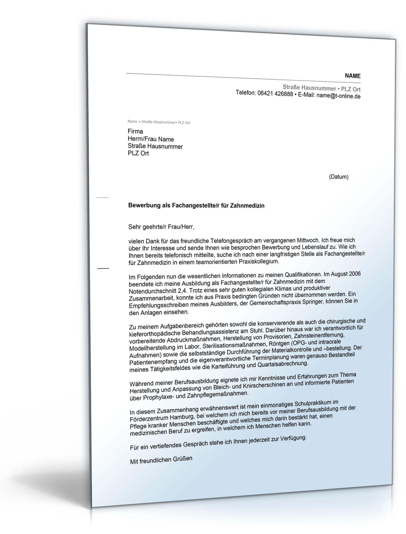 Anschreiben Bewerbung Arbeitsplatz (Berufseinsteiger mit