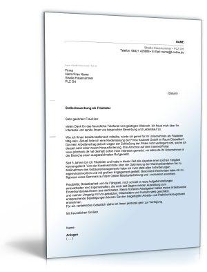 Anschreiben Bewerbung (Filialleiter/Filialleiterin)