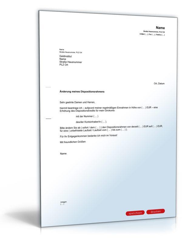 Antrag auf Erhöhung des Dispositionskredites (Dispo-Kredit) 1