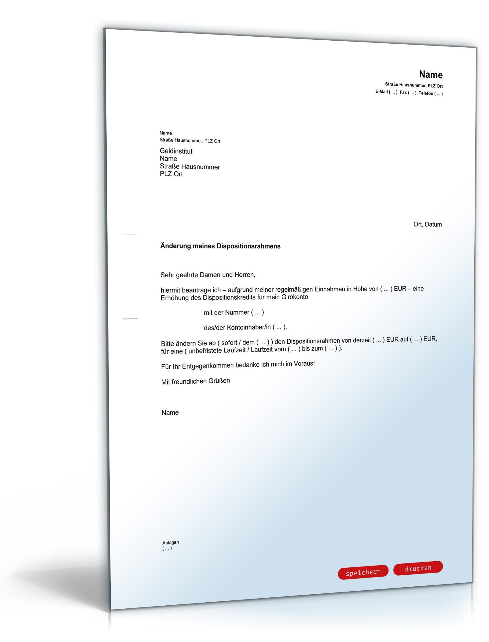 Antrag auf Erhöhung des Dispositionskredites (Dispo-Kredit)