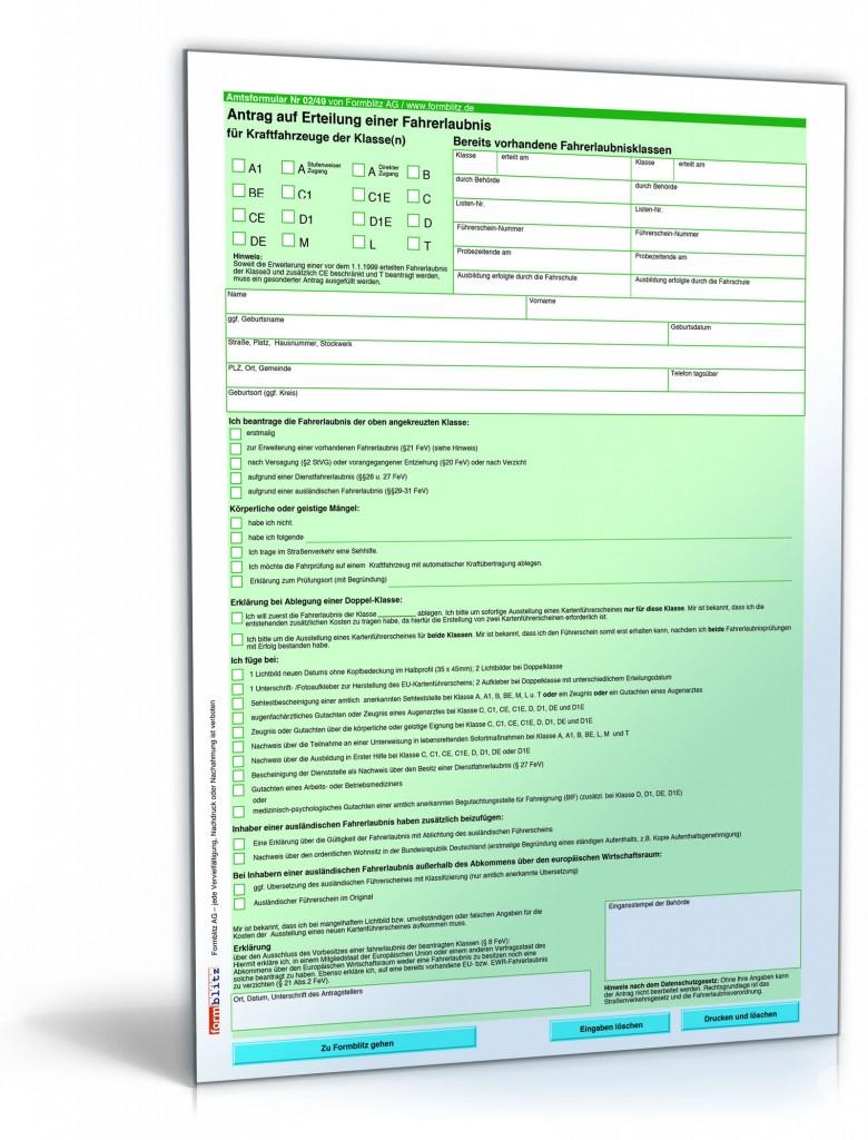 Antrag auf Erteilung einer Fahrerlaubnis ⋆