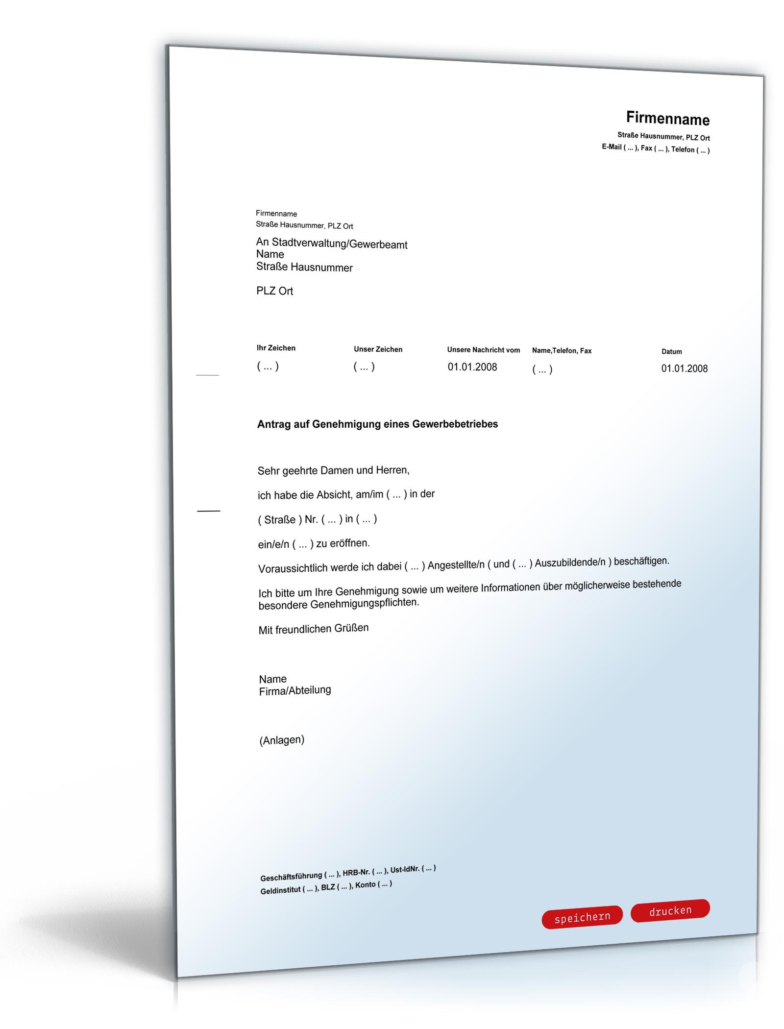 Antrag auf Genehmigung eines Gewerbebetriebes