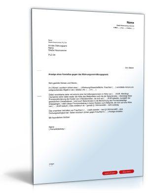 Anzeige eines Verstoßes gegen das Wohnungsvermittlungsgesetz