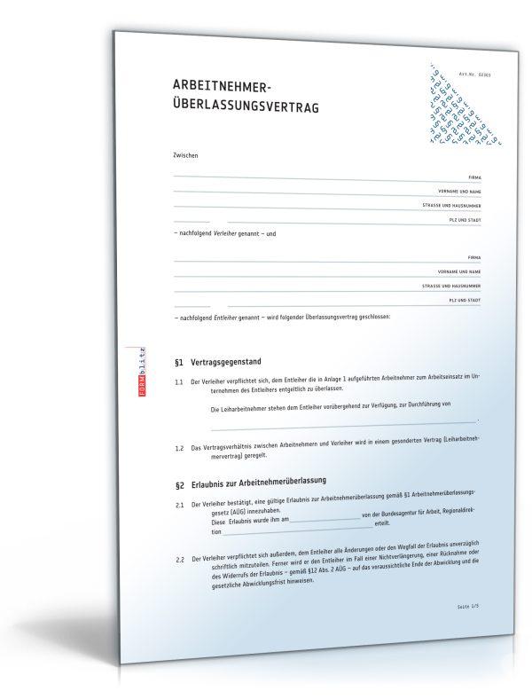 Arbeitnehmerüberlassungsvertrag 1
