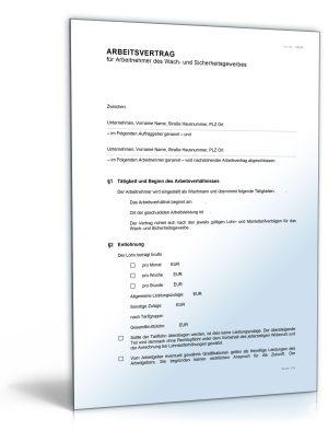 Arbeitsvertrag für Arbeitnehmer des Wach- und Sicherheitsgewerbes