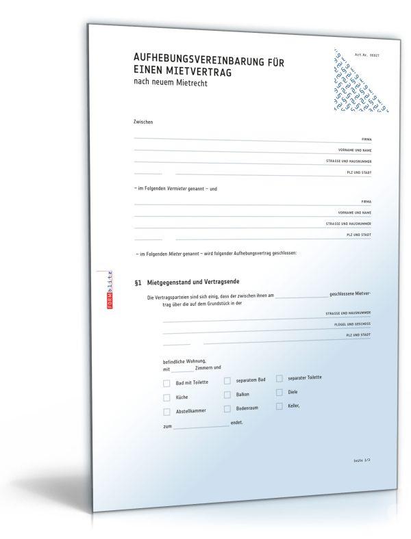 Aufhebungsvertrag für einen Wohnungsmietvertrag 1