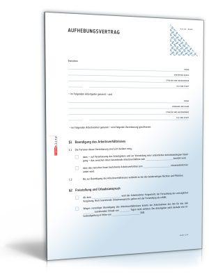 Aufhebungsvertrag für ein Arbeitsverhältnis