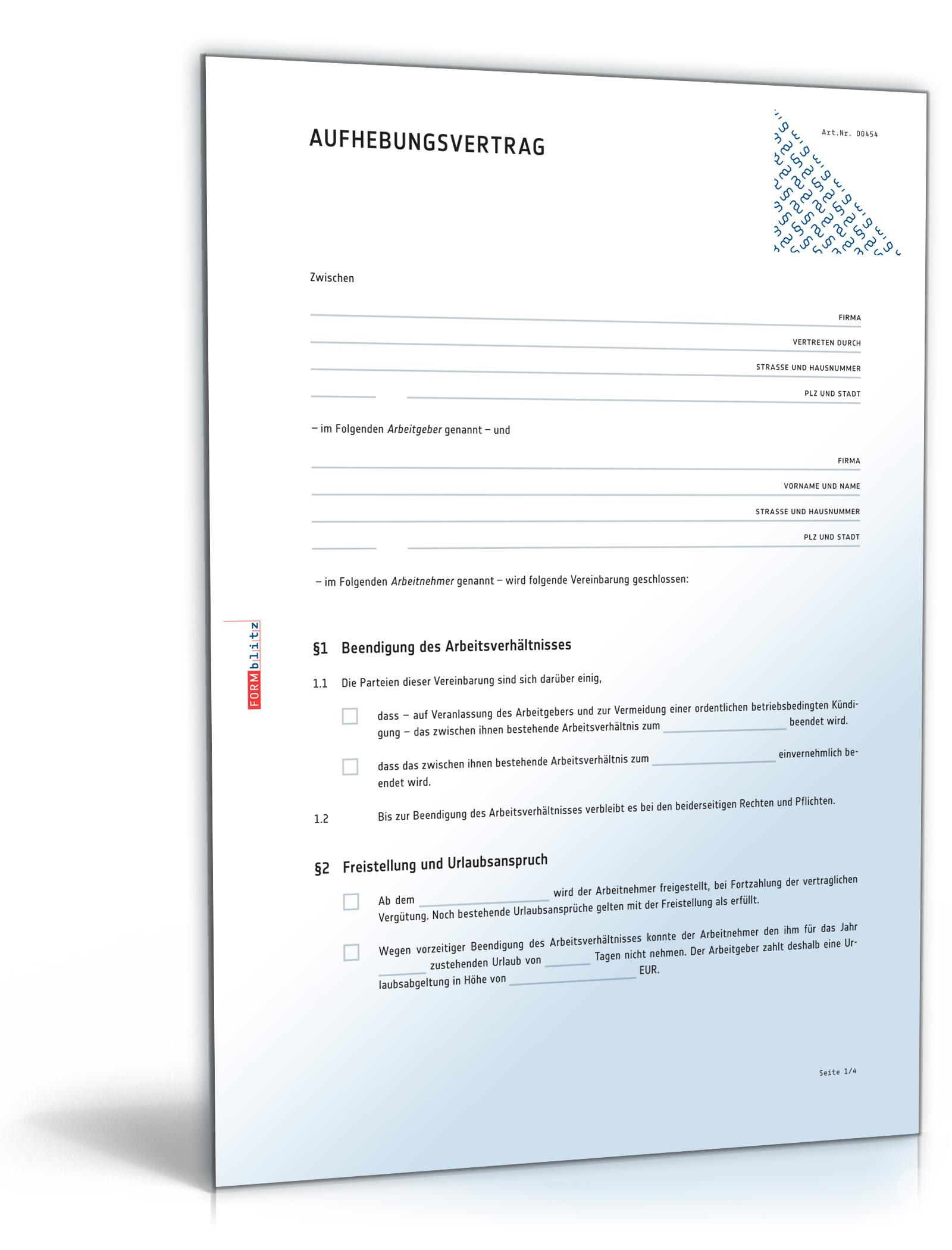aufhebungsvertrag fr ein arbeitsverhltnis - Gutertrennung Muster