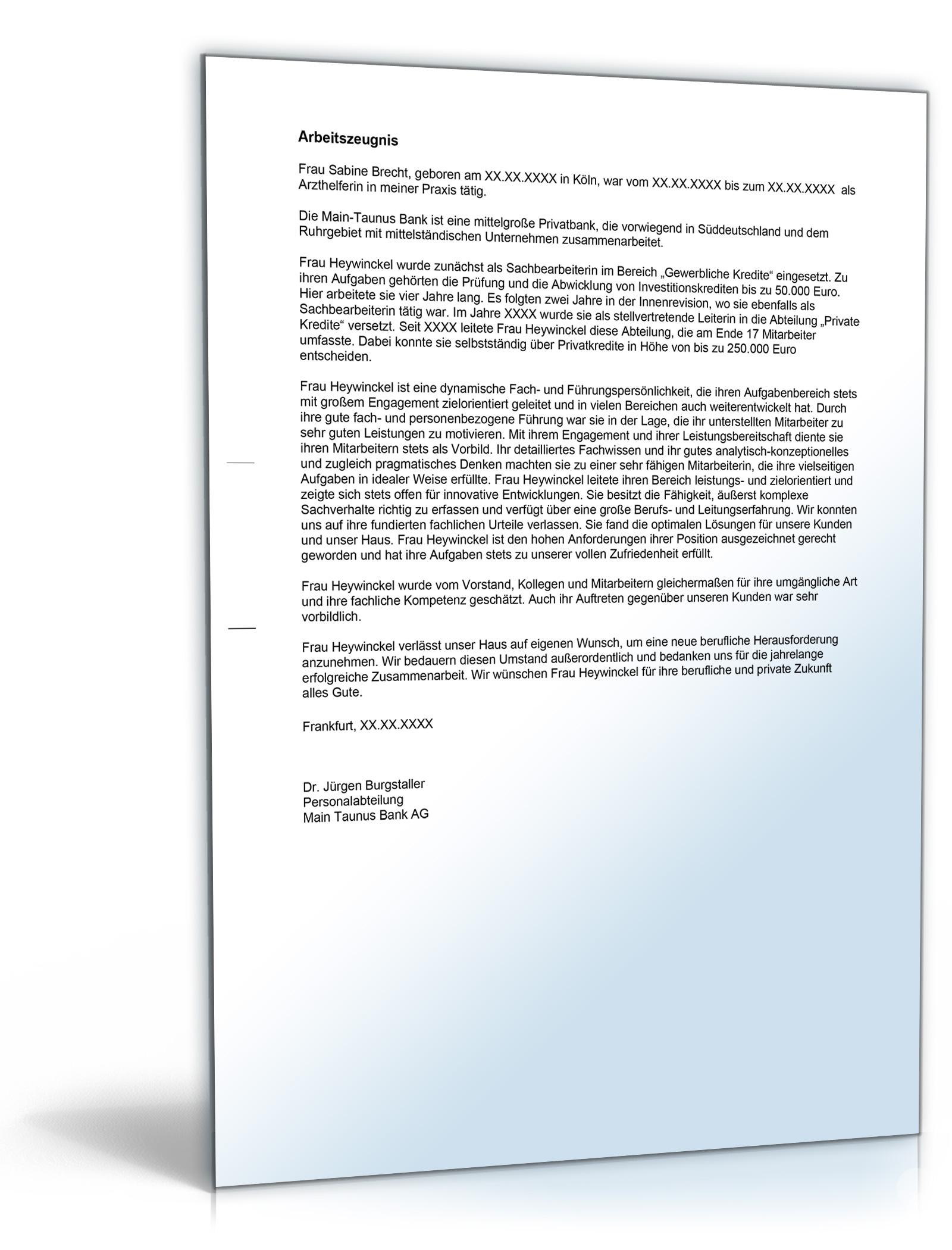Musterbriefe Zusammenarbeit : Arbeitszeugnis quot gut bankkaufleute