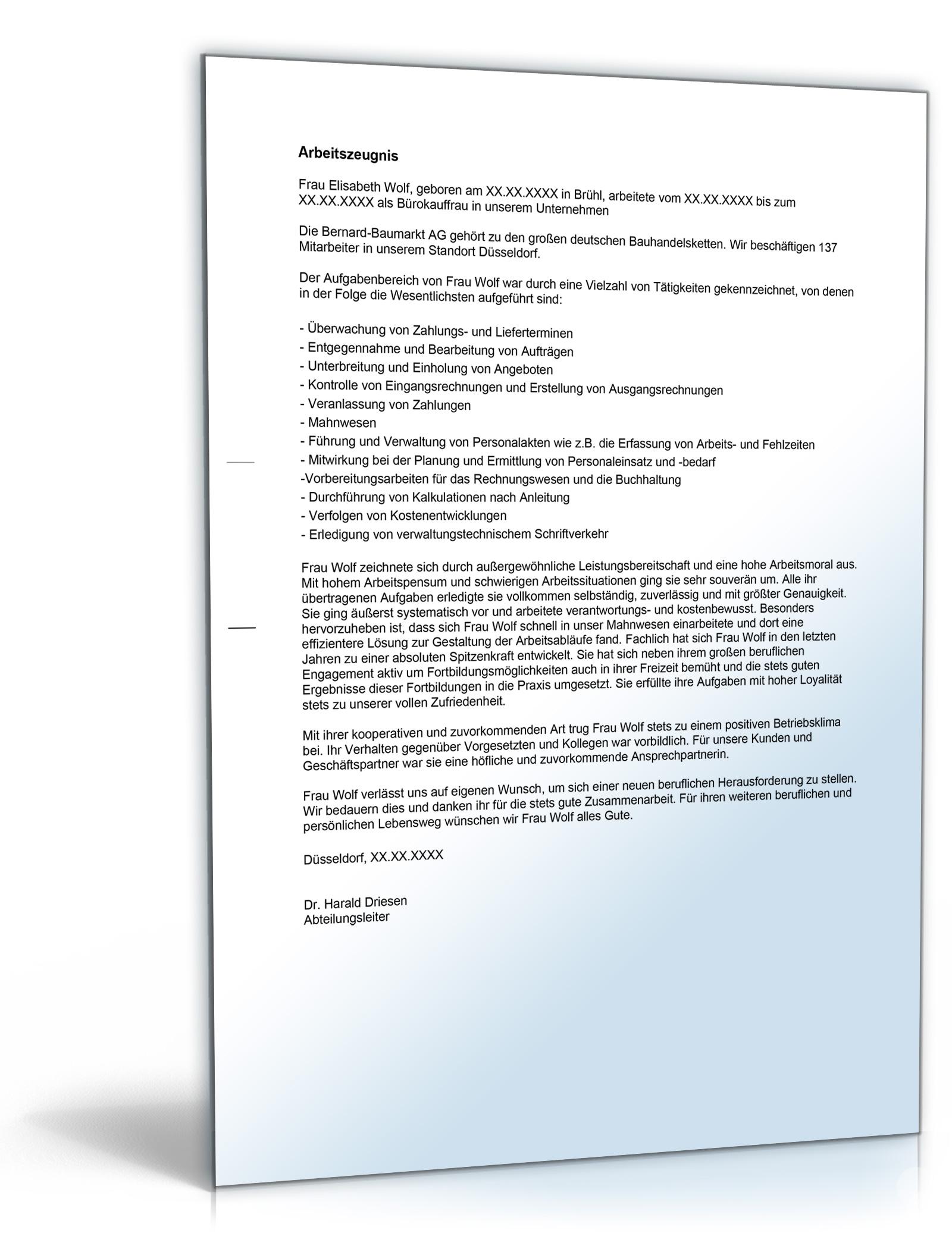 """Arbeitszeugnis """"gut"""" (Bürokaufmann/Bürokauffrau) 1"""