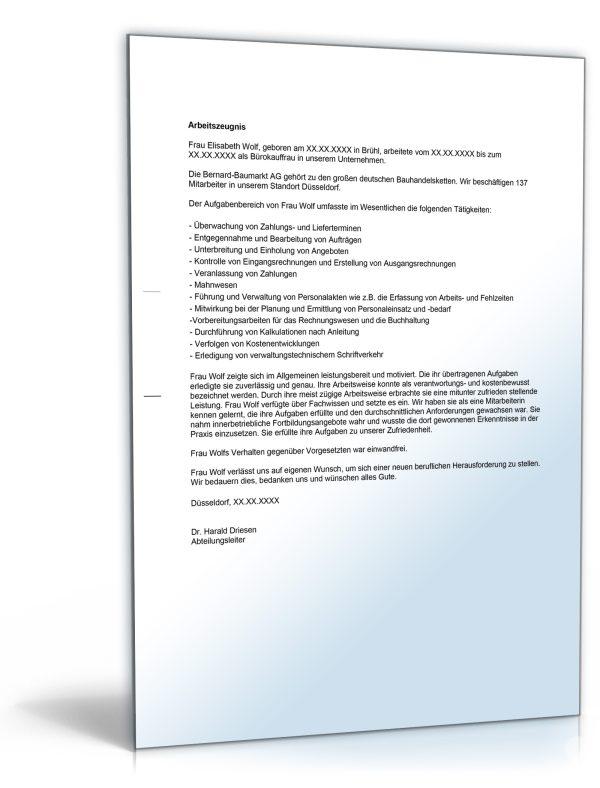 """Arbeitszeugnis """"ausreichend"""" (Bürokaufmann/Bürokauffrau) 1"""