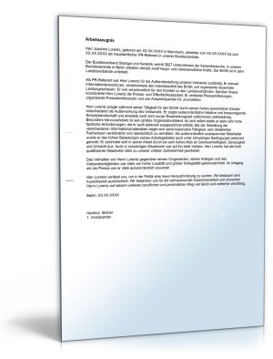 """Arbeitszeugnis """"sehr gut"""" (Presse-Referent/in)"""