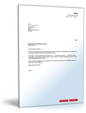 Brief an die Bank wegen fehlender Gutschrift