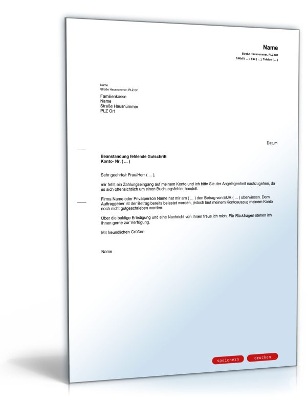 Brief an die Bank wegen fehlender Gutschrift 1