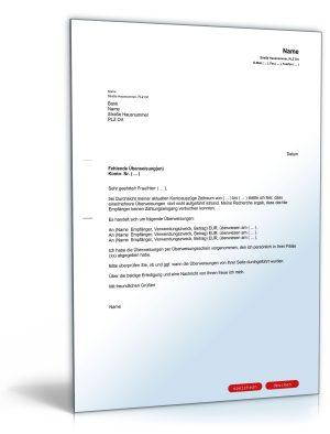 Brief an die Bank wegen fehlender Überweisung