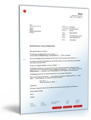 Antrag auf Mitgliedschaft in einem Verein / Beitrittserklärung