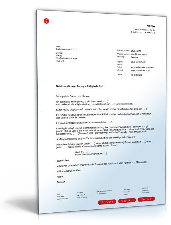 Antrag auf Mitgliedschaft in einem Verein / Beitrittserklärung 1