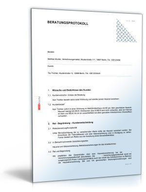 Beratungsprotokoll für Versicherungsvermittlung