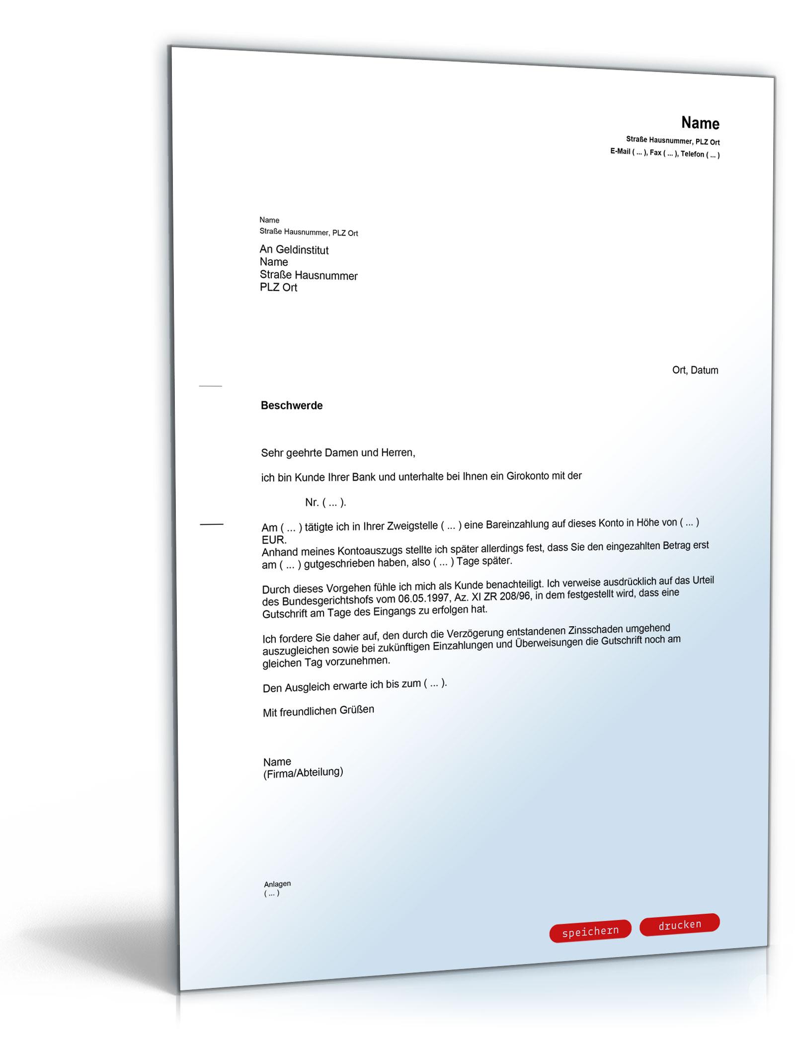 Beschwerde bei einer Bank wegen verspäteter Gutschrift