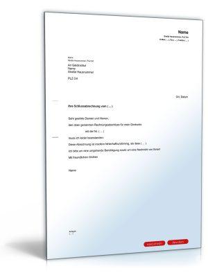 Beanstandung des Rechnungsabschlusses für ein Bankkonto