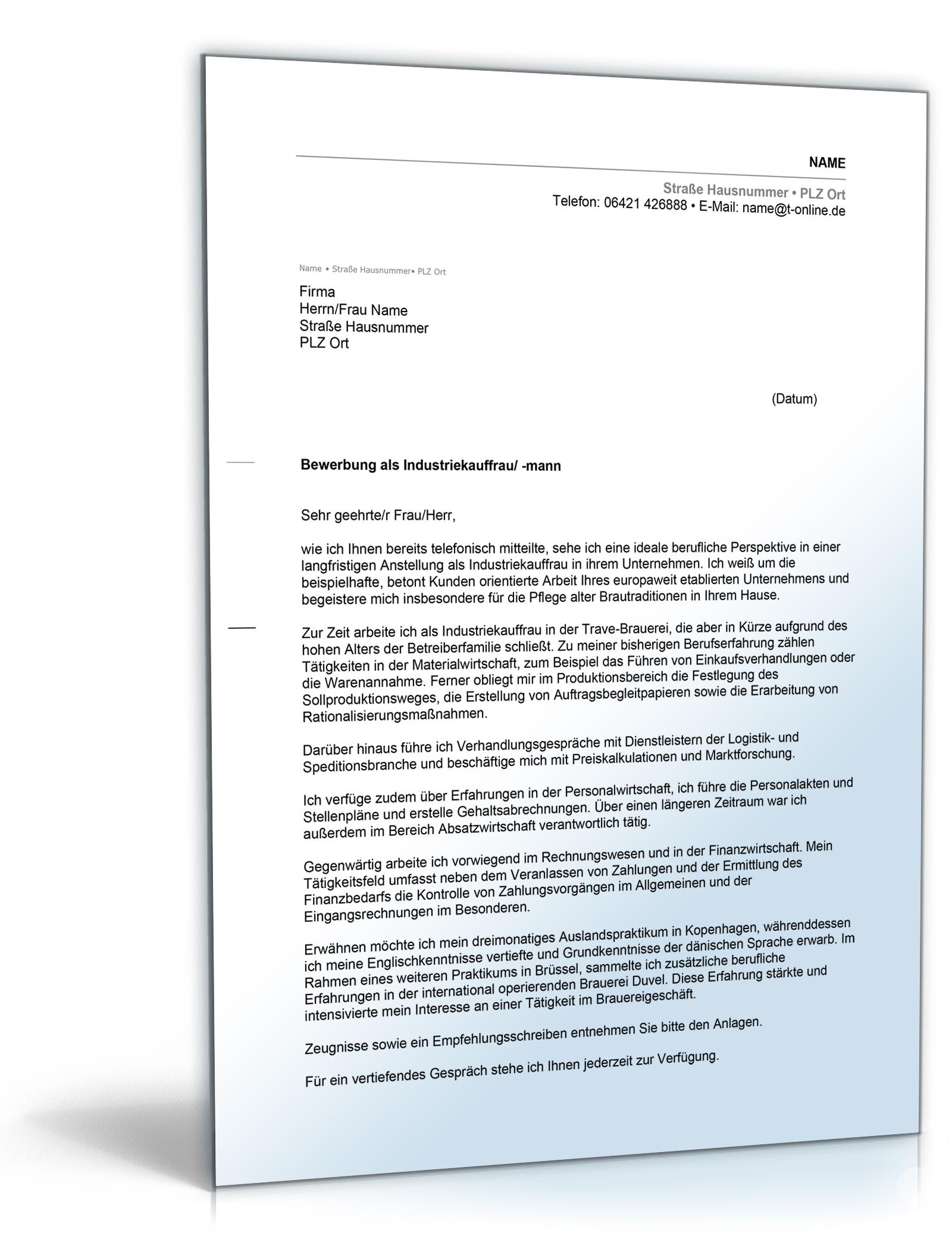 anschreiben bewerbung industriekauffrau mann dnisches bettenlager - Danisches Bettenlager Bewerbung