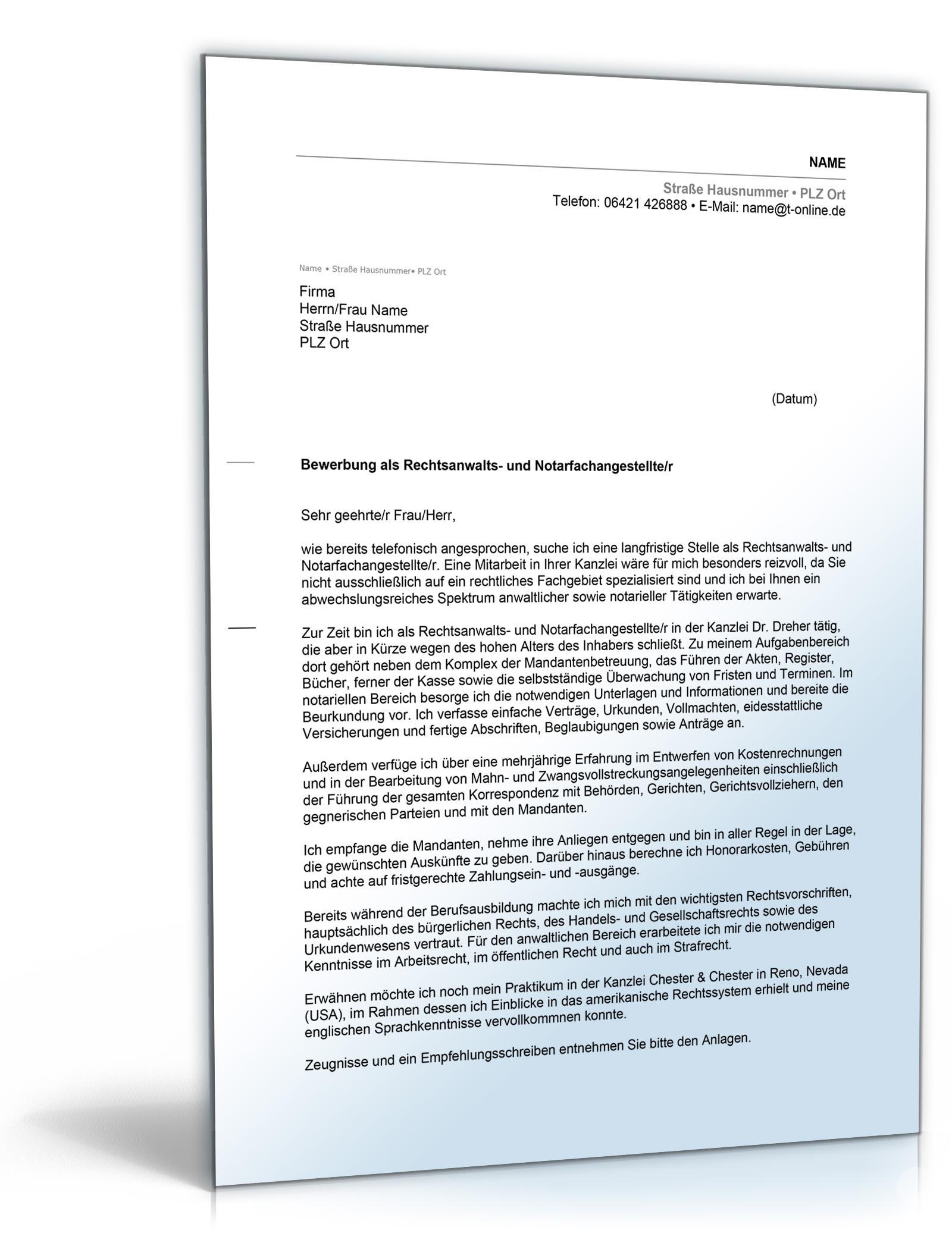 Musterbriefe Notar : Anschreiben bewerbung rechtsanwalts und