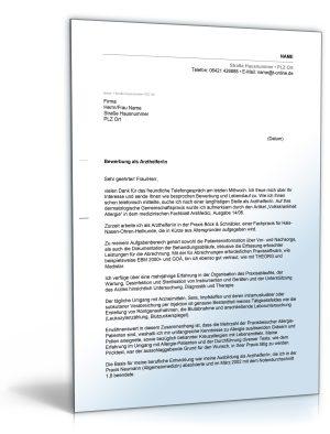 Anschreiben Bewerbung (Arzthelferin/Medizinische Fachangestellte)