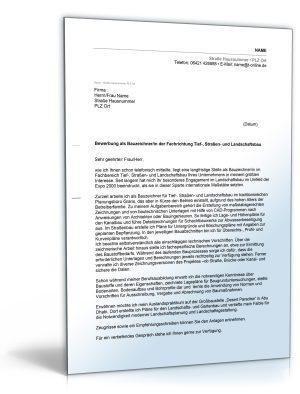 Anschreiben Bewerbung (Bauzeichner)