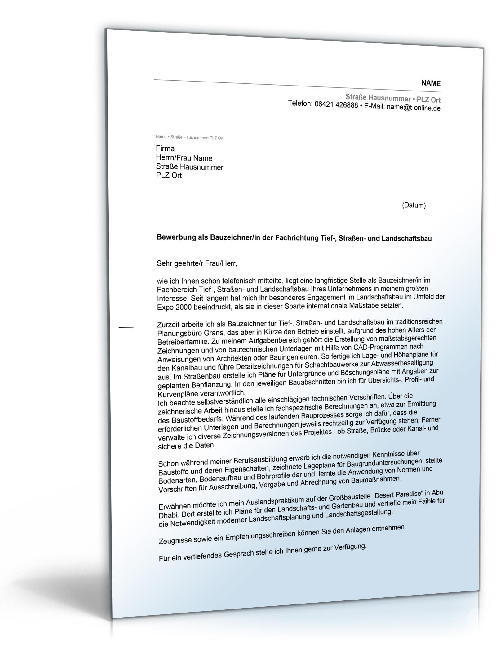 Anschreiben Architektur Bewerbung: Anschreiben Bewerbung (Bauzeichner