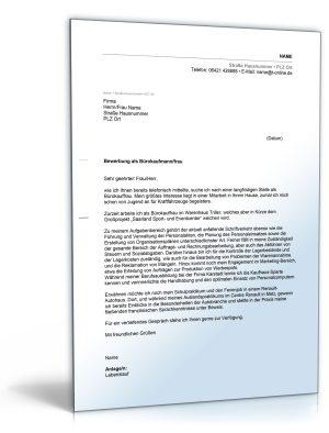 Anschreiben Bewerbung (Bürokauffrau)