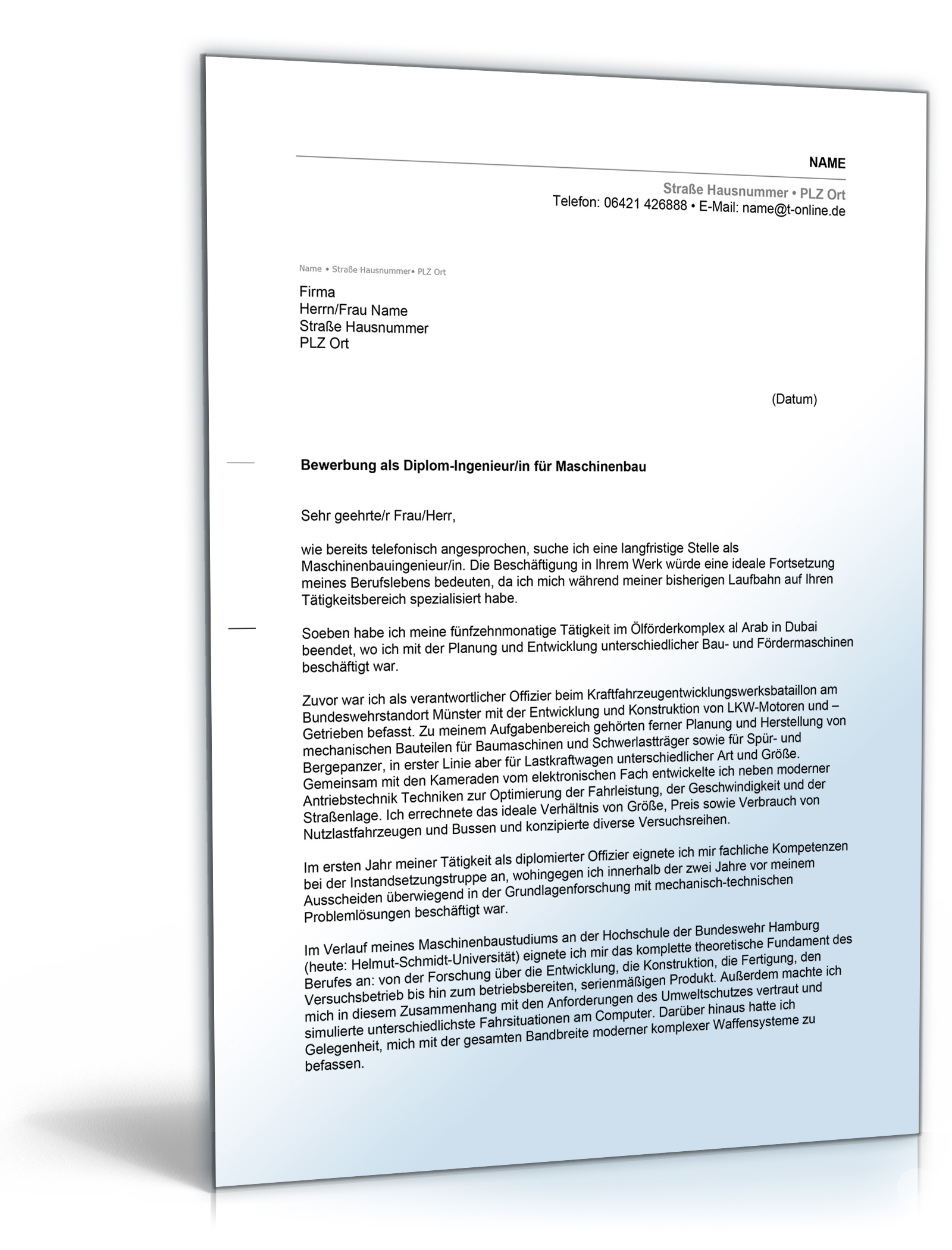 Anschreiben Bewerbung Arbeitsplatz (Bundeswehr Absolvent mit