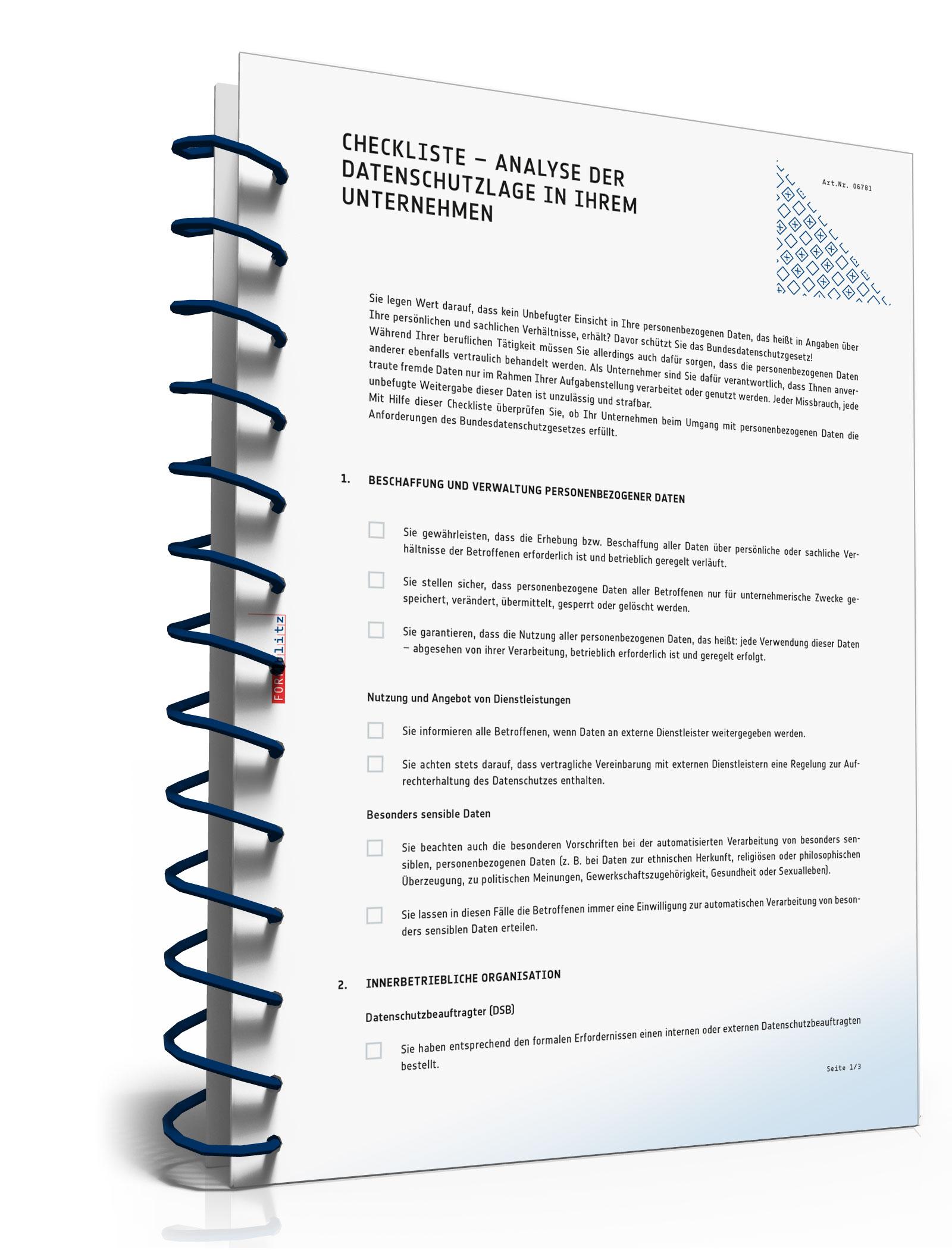 Checkliste zur Analyse der Datenschutzlage in Ihrem Unternehmen