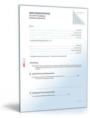 Darlehensvertrag mit einer Privatperson (Verbraucherdarlehen)