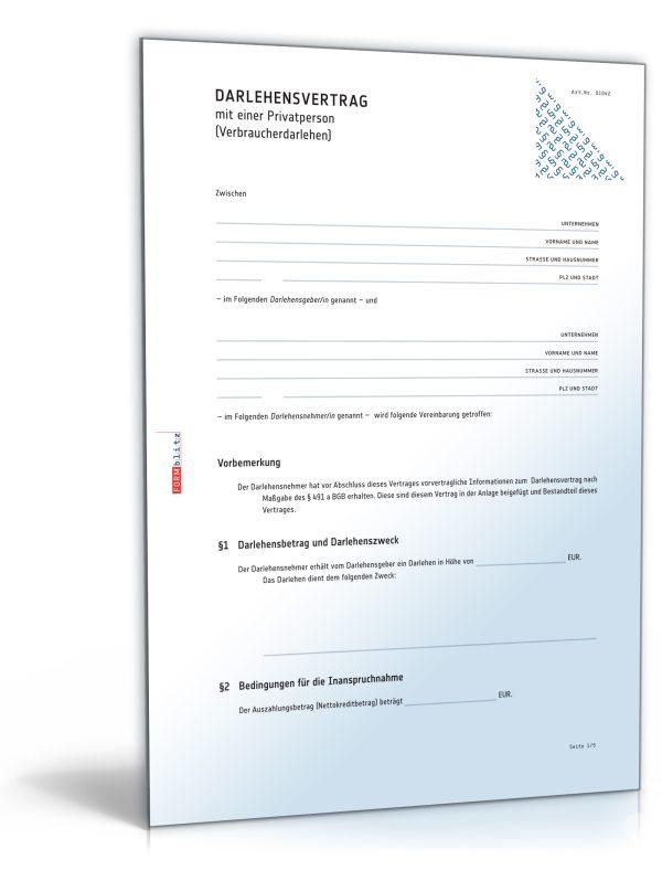 Darlehensvertrag mit einer Privatperson (Verbraucherdarlehen) 1