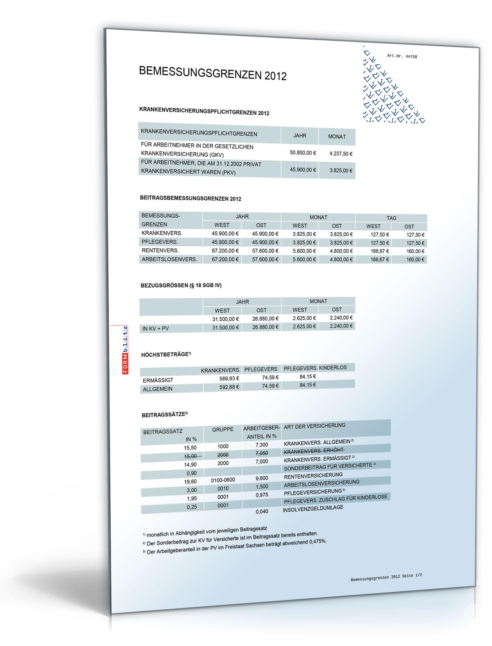 FORMBLITZ-Tabelle 2010/2012 - Sammlung diverser Pauschalsätze