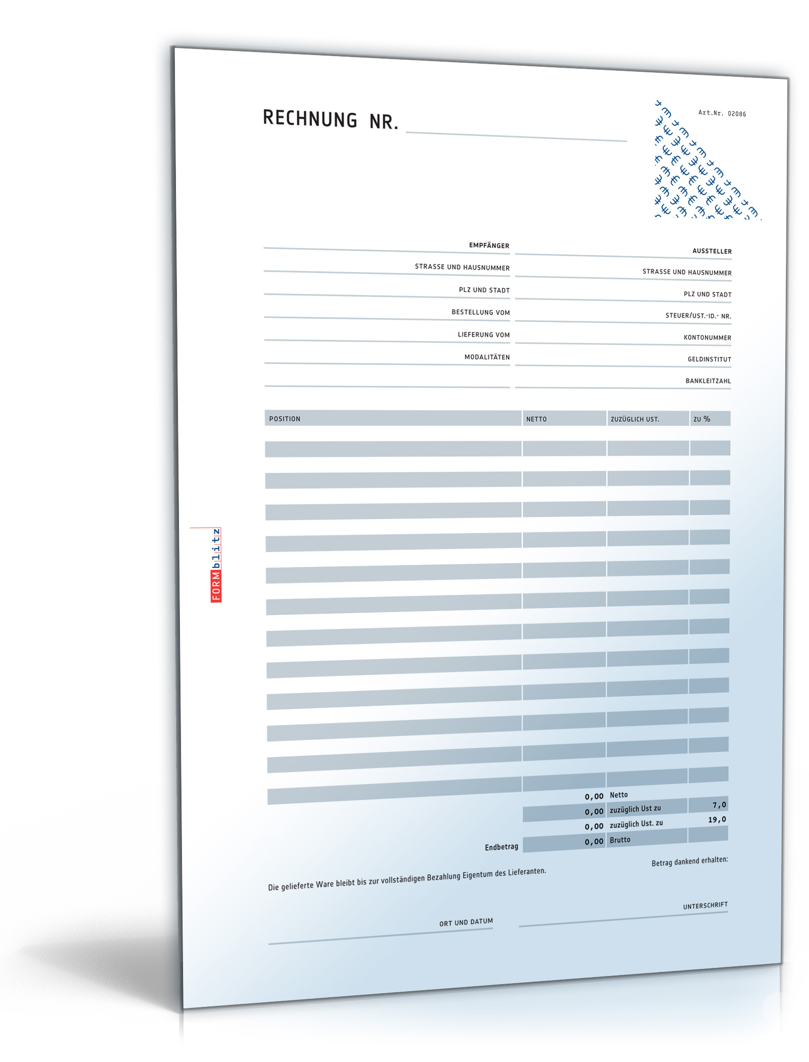 Rechnung netto mit Überweisungsträger / Zahlschein