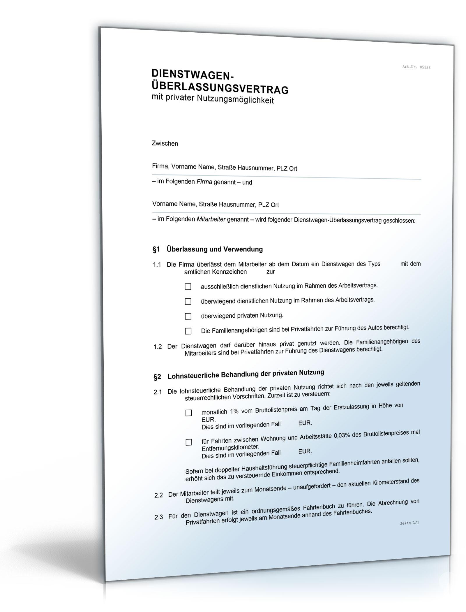Dienstwagen-Überlassungsvertrag