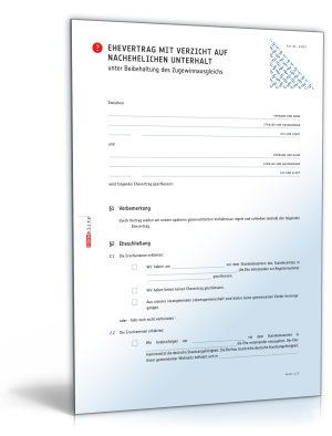 Ehevertrag mit Verzicht auf nachehelichen Unterhalt und Beibehaltung des Versorgungsausgleichs