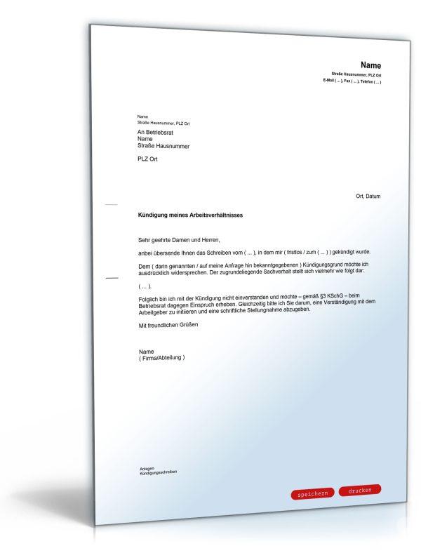 Musterbriefe Kündigung : Einspruch gegen kündigung beim betriebsrat