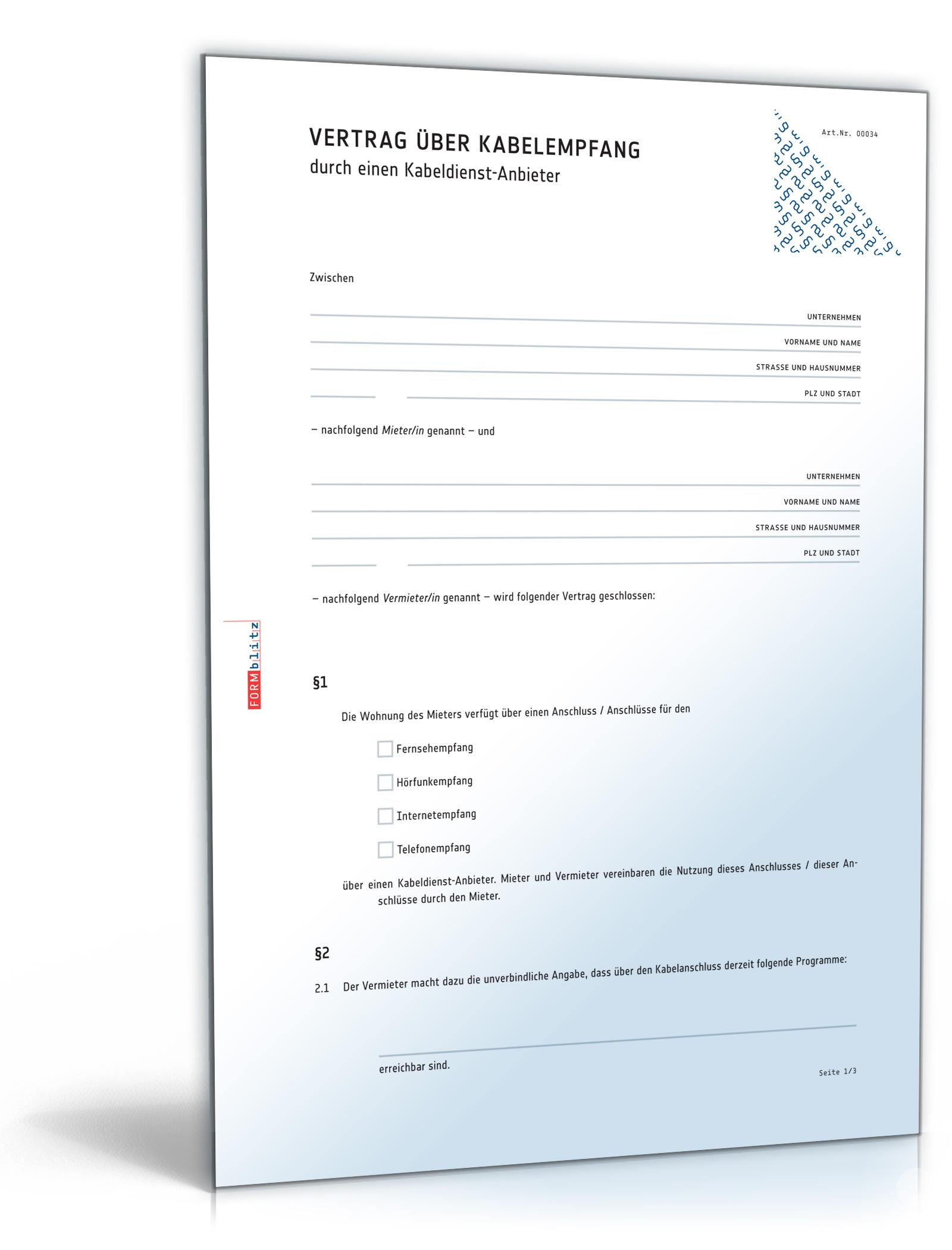 Vertrag über Kabelempfang durch einen Kabeldienst-Anbieter