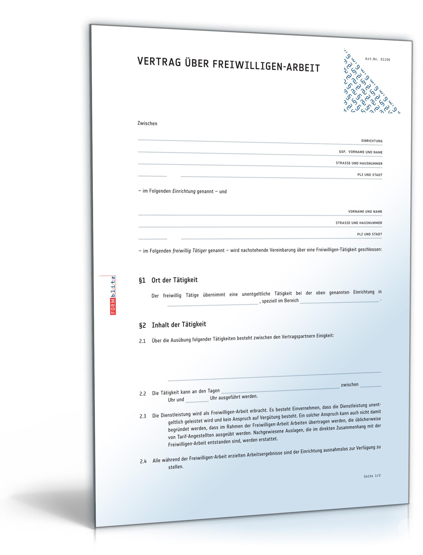 Ehrenamtsvertrag