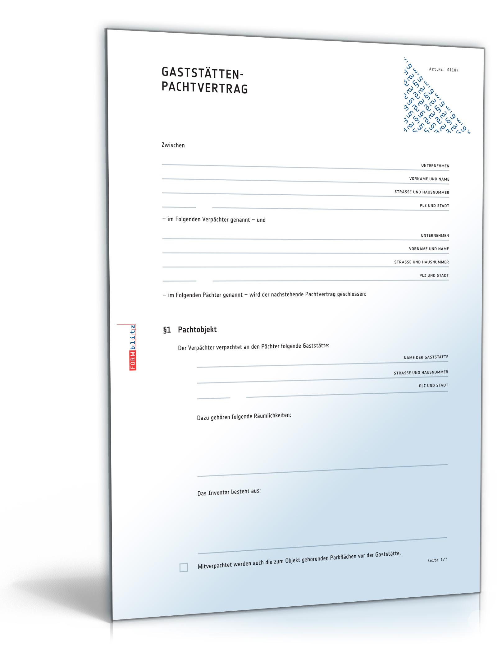 Gaststätten-Pachtvertrag