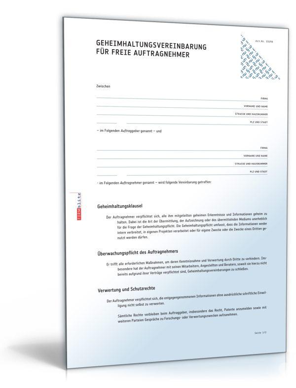 Geheimhaltungsvereinbarung für freie Auftragnehmer 1