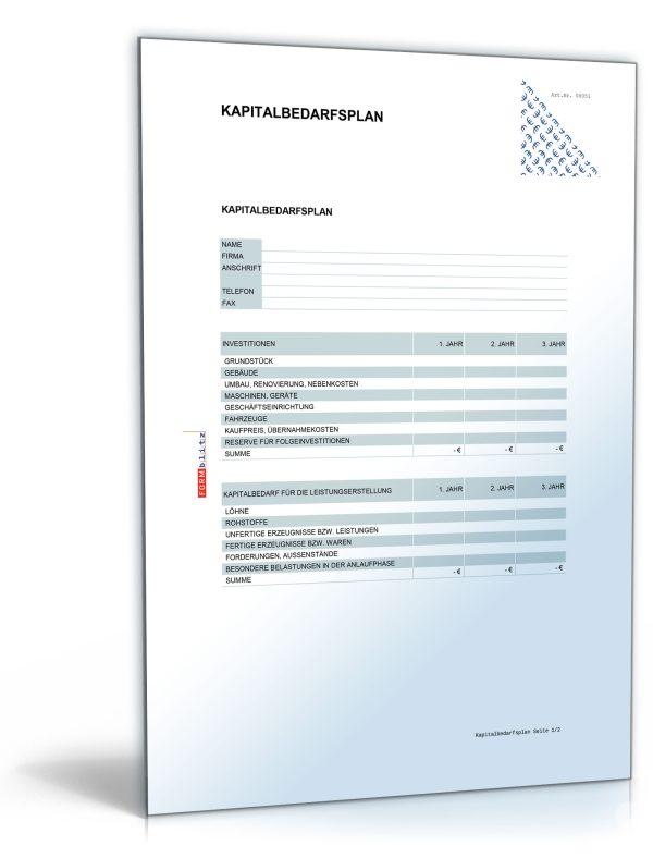 Kapitalbedarfsplan für Existenzgründer 1