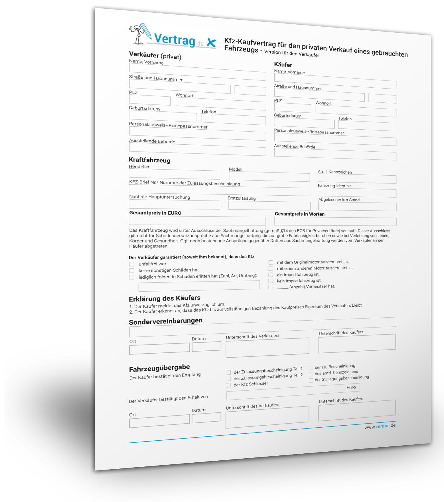 kostenlose vorlage fr einen kfz kaufvertrag - Vorvertrag Grundstuckskauf Muster Kostenlos