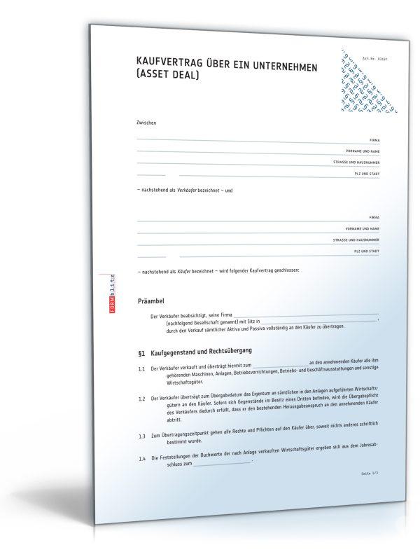 Kaufvertrag über ein Unternehmen (Asset Deal) 1