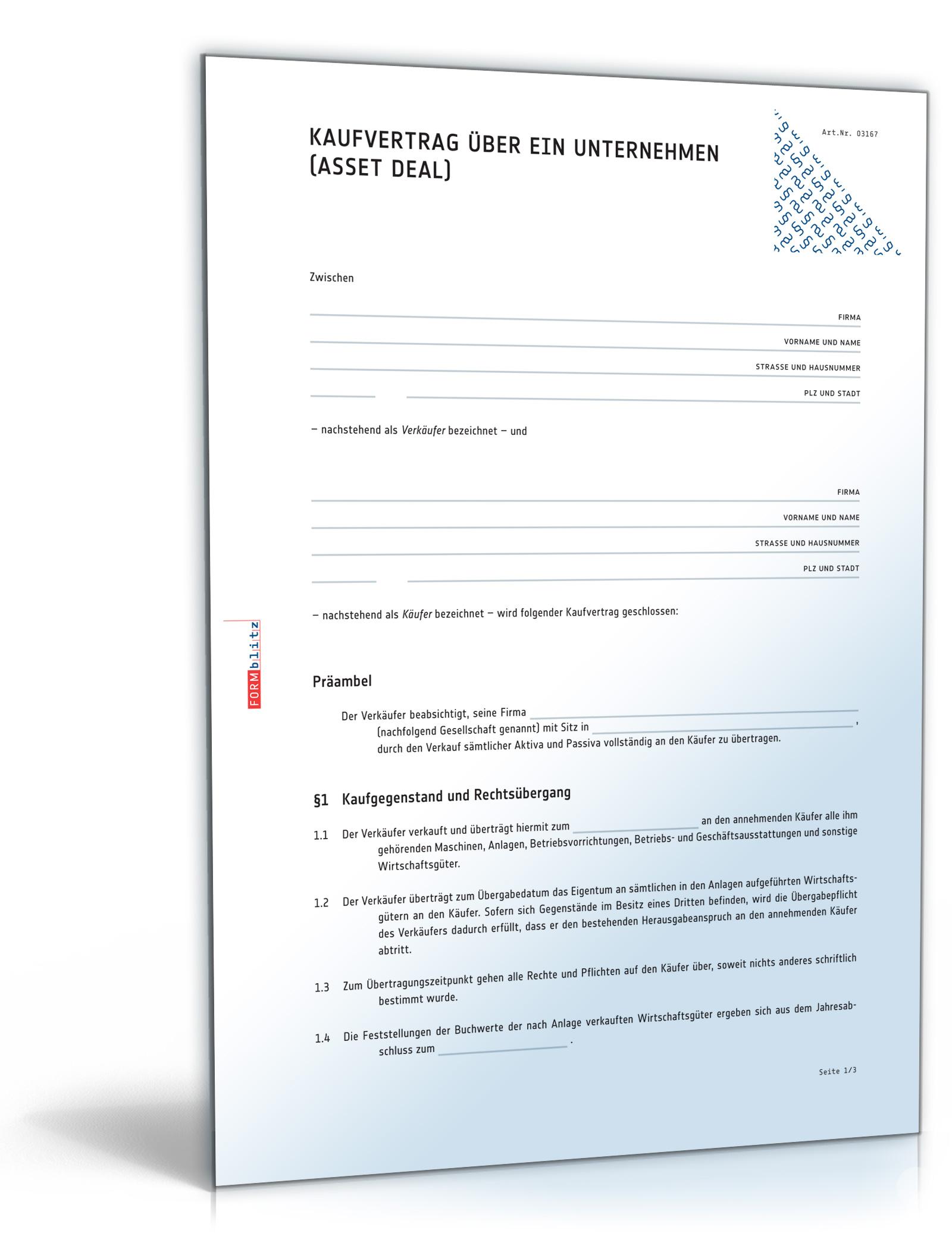 Kaufvertrag über ein Unternehmen (Asset Deal)
